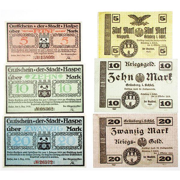 Haspe & Grônberg in Schlesien. 1918. Lot of 6 Issued Notgeld Notes.