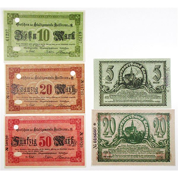 Heilbronn & Kamenz. 1918. Lot of 5 Issued Notgeld Notes.