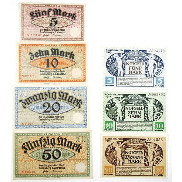 Kitzingen & Landsberg a.d. Warthe. 1919. Lot of 7 Issued Notgeld Notes.