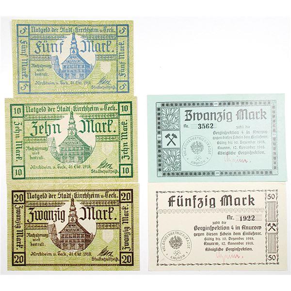 Knurow K_nigliche Berginspektion & Kirchheim u. Teck. 1918. Lot of 5 Issued Notgeld Notes.