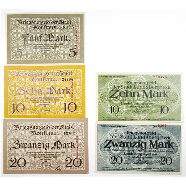 Konstanz & Landsberg. 1918-1919. Lot of 5 Issued Notgeld Notes.