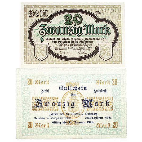 Kulmbach & K_nigsberg in Franken. 1918. Lot of 2 Issued Notgeld Notes.