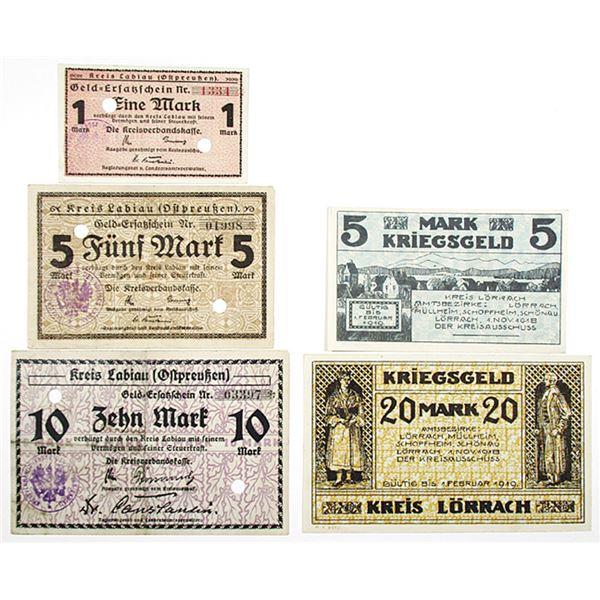 L_rrach & Labiau (Ostpreu_en). 1918. Lot of 5 Issued Notgeld Emergency War Notes.