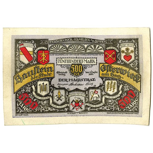 P__neck. 1922. Issued Leather Notgeld Note.