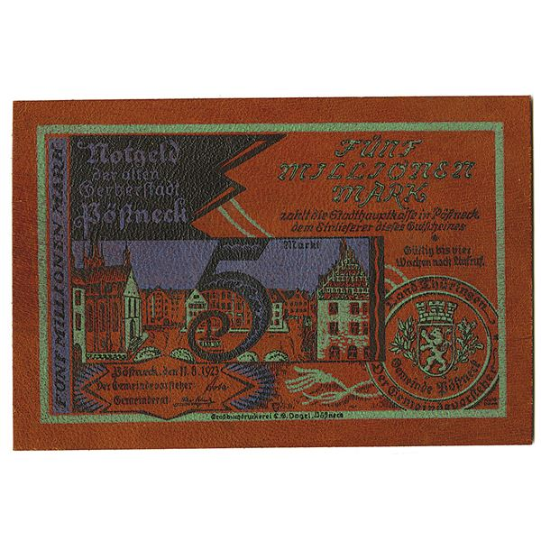 P__neck. 1923. Issued Leather Notgeld Note.