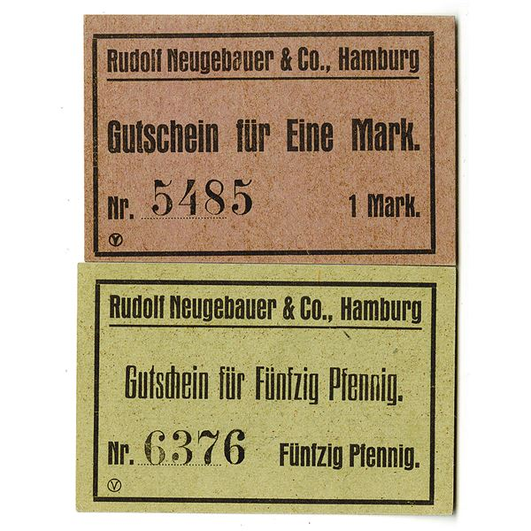 Rudolf Neugebauer & Co. (Hamburg). ND (ca. 1920s). Lot of 2 Issued Notes.