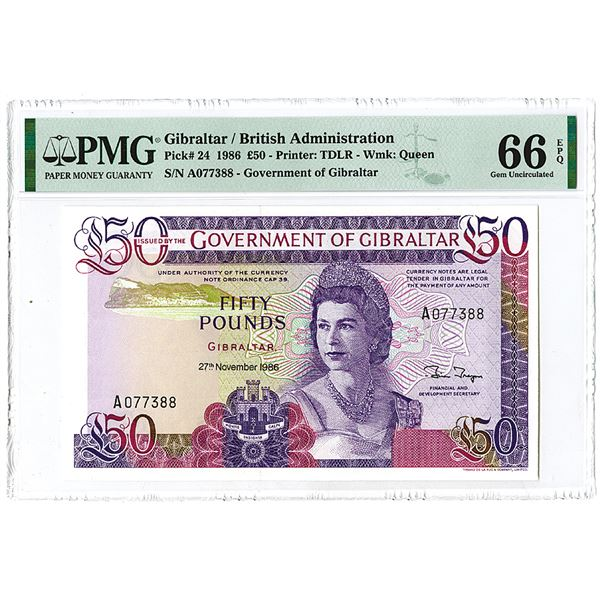 Government of Gibraltar. 1986 Issue One of 2 Sequential Banknotes Offered in this auction.