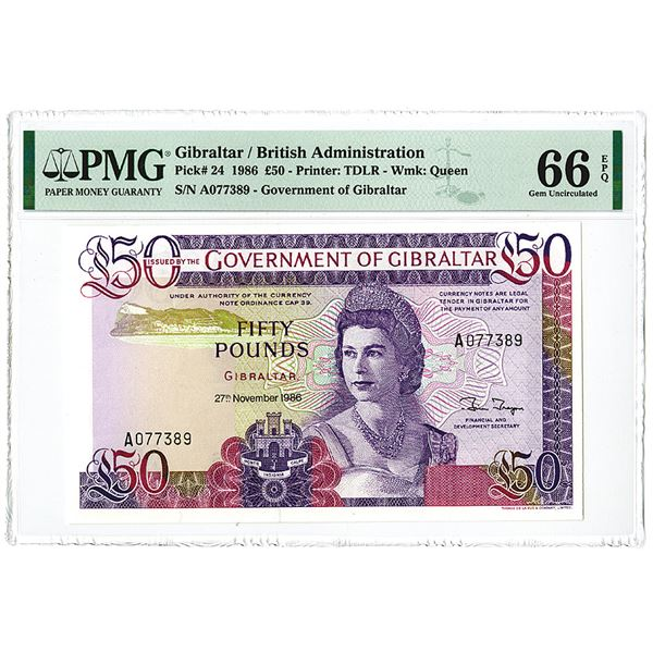 Government of Gibraltar. 1986 The second of 2 Sequential Banknotes Offered in this auction.