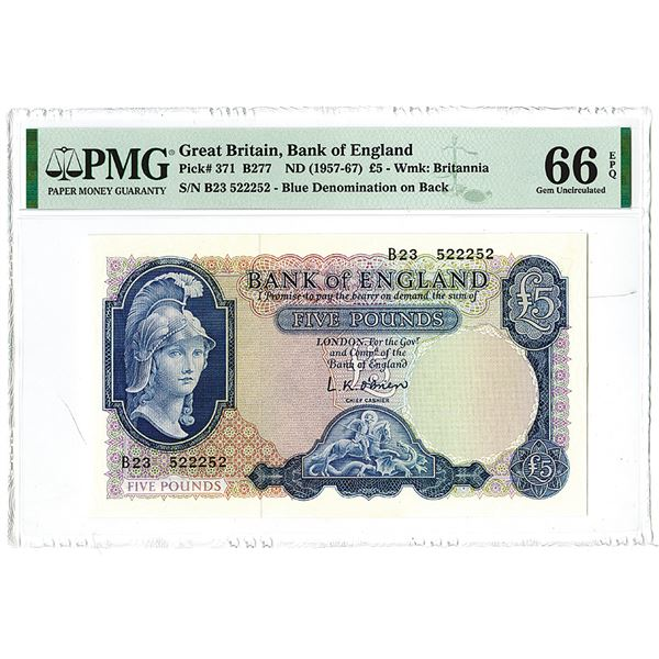 Bank of England. ND (1957-1967). Issued Banknote.
