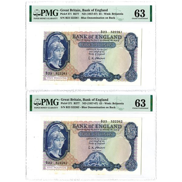 Bank of England. ND (1957-1967). Lot of 2 Sequential Issued Notes.