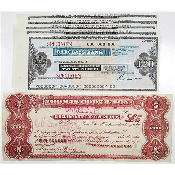 Barclays Bank Specimen Check Quintet & Thomas Cook & Son Circular 5 Pound Note, ca.1929 to 1970's