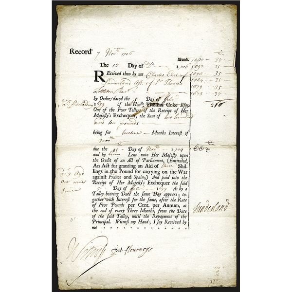 """Charles Spencer 1706 War Loan Repayment from Her Majesty, Queen Anne  for Loan for """"War Against Fran"""