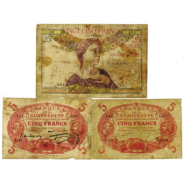 Banque de la Guadeloupe. 1928-1944. Lot of 3 Issued Notes.