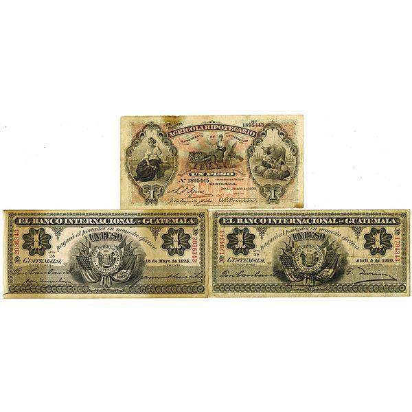 Banco Agricola Hipotecario & Banco Internacional de Guatemala. 1920-1923. Lot of 3 Issued Notes.