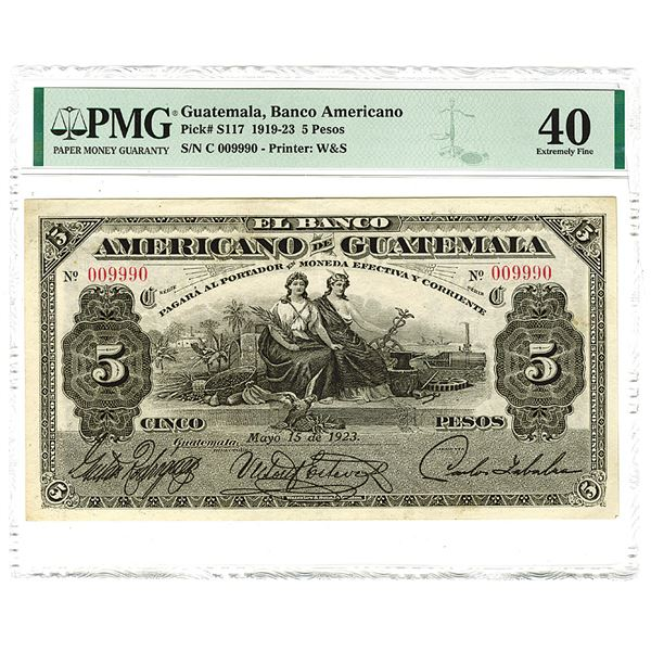"""Banco Americano. 1923 Issue Banknote with Fancy Serial Number """"009990""""."""