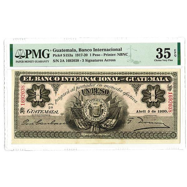 Banco Internacional de Guatemala. 1917-1920 Issue Banknote.