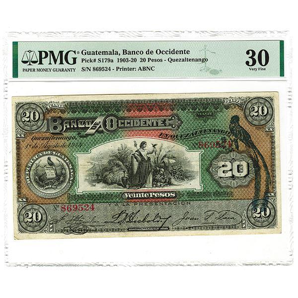 Banco de Occidente. 1914 Issue Banknote.