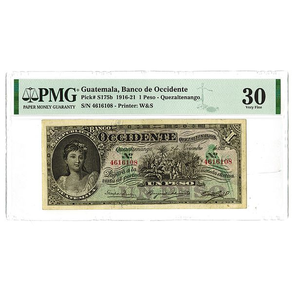 Banco de Occidente. 1916-1921 Issue Banknote.