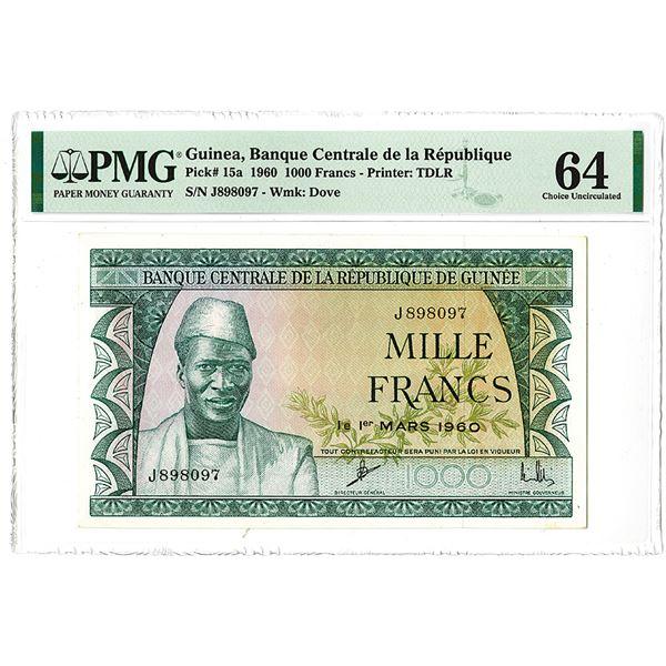 Banque Central de la R_publique de Guin_e. 1960. Issued Note.