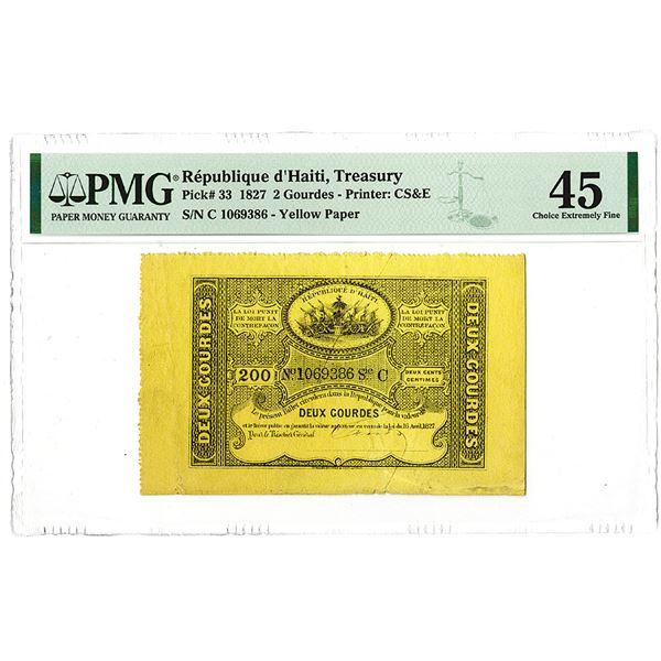 R_publique d'Haiti, Tr_sor Public. 1827 Issue Banknote.