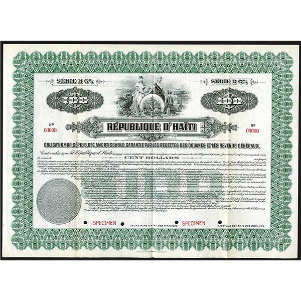 Republique d' Haiti, ca.1910-1920 Specimen Bond