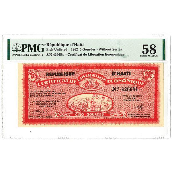 Republique d'Haiti. 1962. Issued Note.