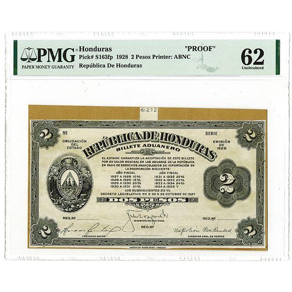 Republica De Honduras, 1928 Progress Proof Banknote.