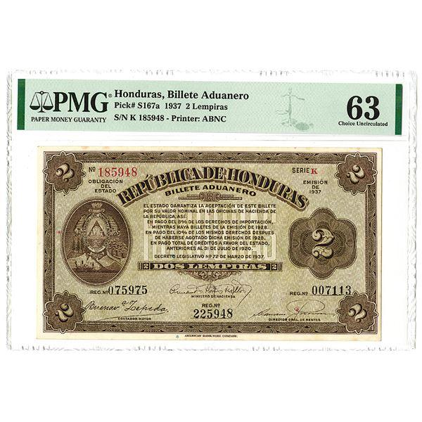 Billete Aduanero. 1937 Issue Banknote.