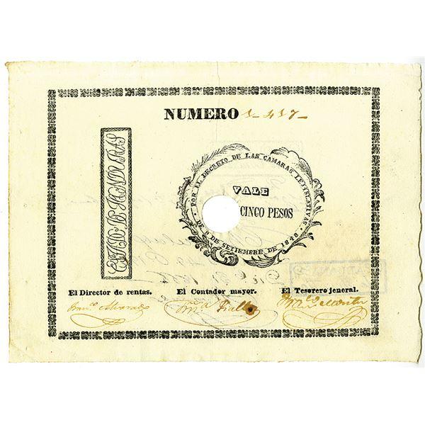 Republica De Honduras, 1848, 15 Pesos Vale of 1848 Issue Banknote.
