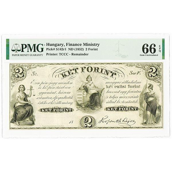 Hungary. Finance Ministry ND (1852) 2 Forint PMG Gem Unc 66 EPQ.