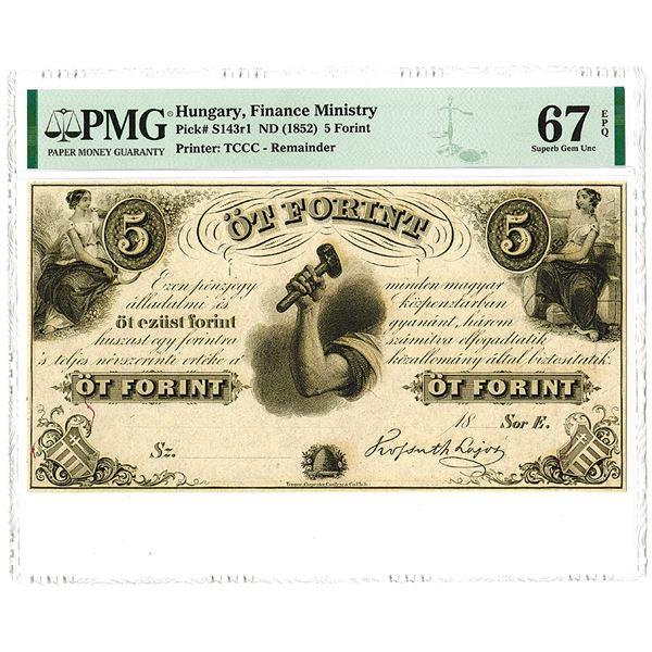 "Finance Ministry. ND (1852). ""Top Pop"" Remainder Banknote."