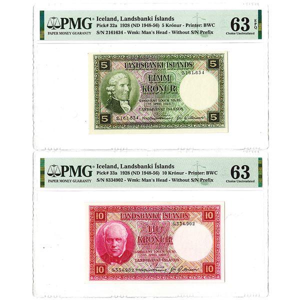 Landsbanki slands. 1928 (ND 1948-1956). Lot of 2 Issued Notes.