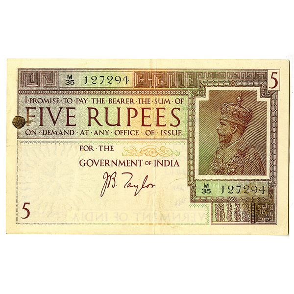 """Government of India. ND (1917-30) """"Taylor"""" Signature Issue Banknote."""