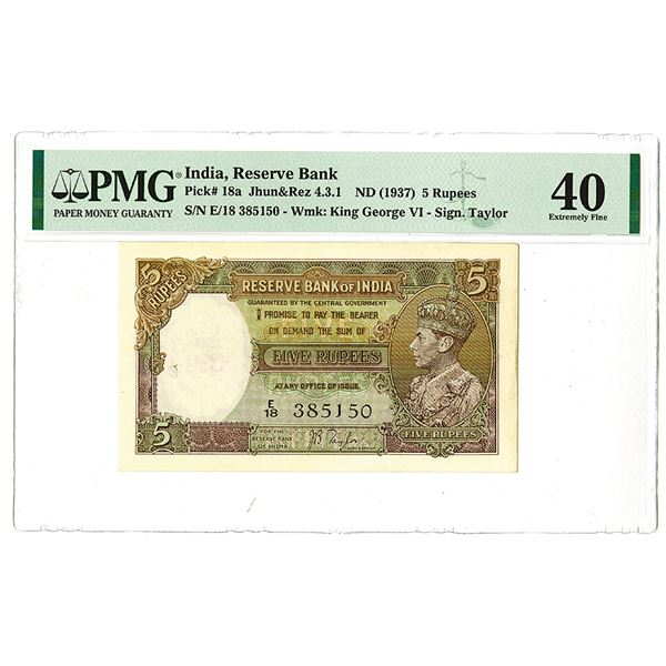 Reserve Bank of India. ND (1937) Issue Banknote.