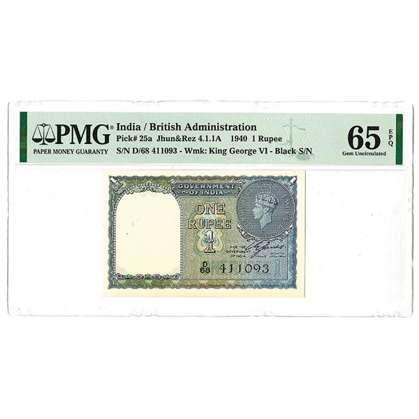 Government of India (British Administration). 1940 Issue Banknote.