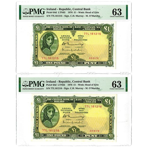 Central Bank of Ireland. 1976. Lot of 2 Sequential Issued Notes.