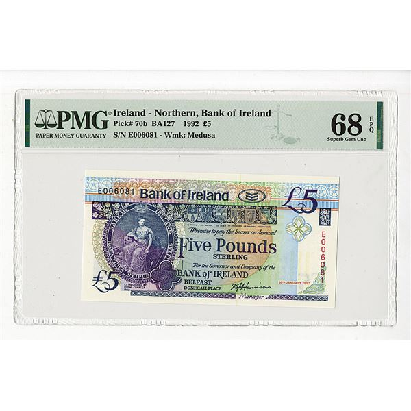 """Bank of Ireland. 1992. """"Top Pop"""" Issued Banknote."""