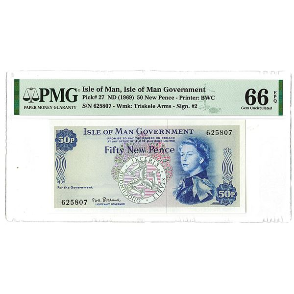Isle of Man Government. ND (1969). Issued Banknote.