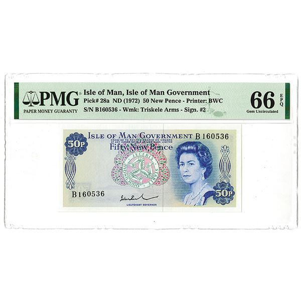 Isle of Man Government. ND (1972). Issued Banknote.
