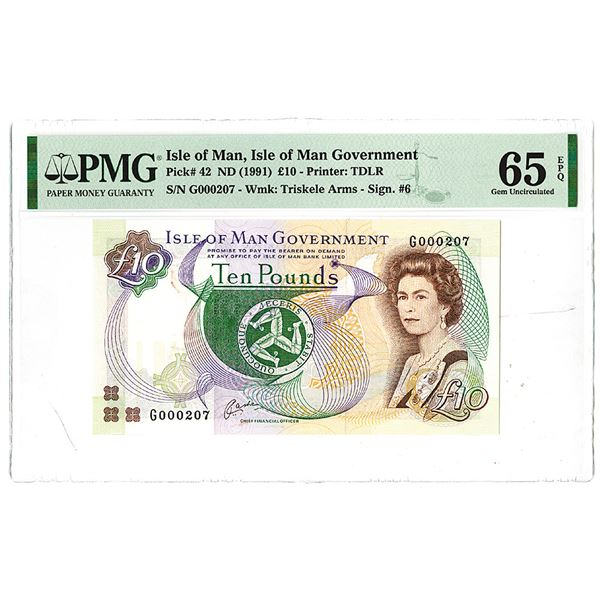 """Isle of Man Government. ND (1991). Issued Banknote with Low Serial Number """"G000207""""."""