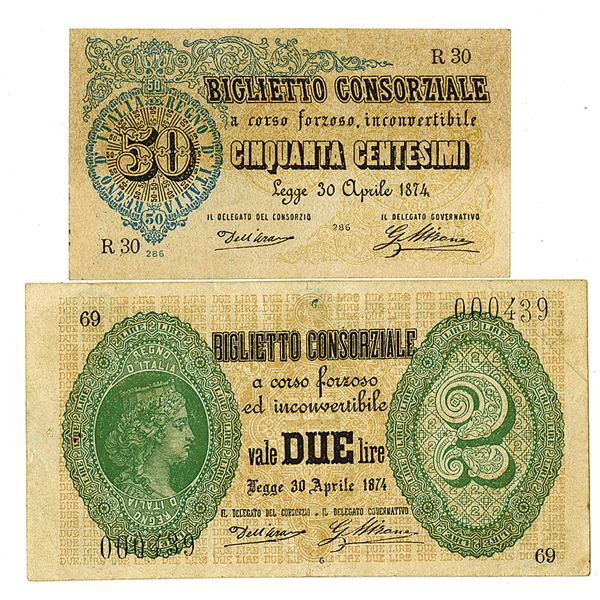 Federal Biglietti Consorziale. L.1874. Lot of 2 Issued Notes.