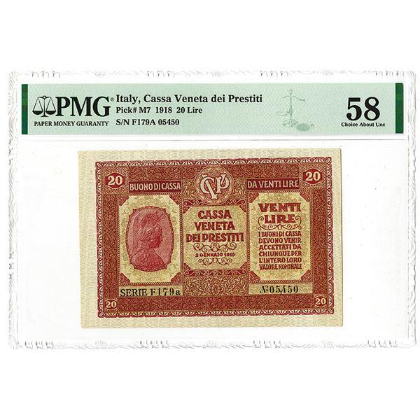 Cassa Veneta dei Prestiti. 1918 Issue Banknote.