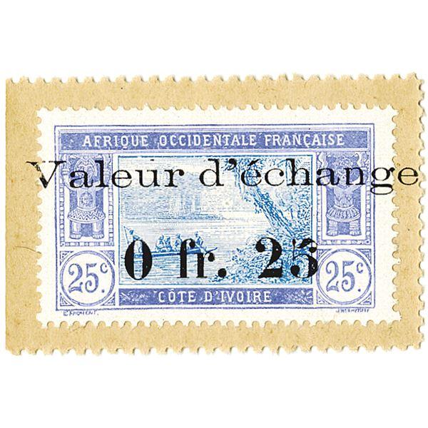 Colonie de la Cote d'Ivoire. 1920 Issue Banknote.