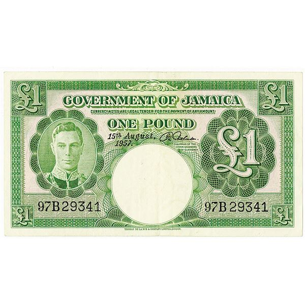 Government of Jamaica. 1957 Issue Banknote.