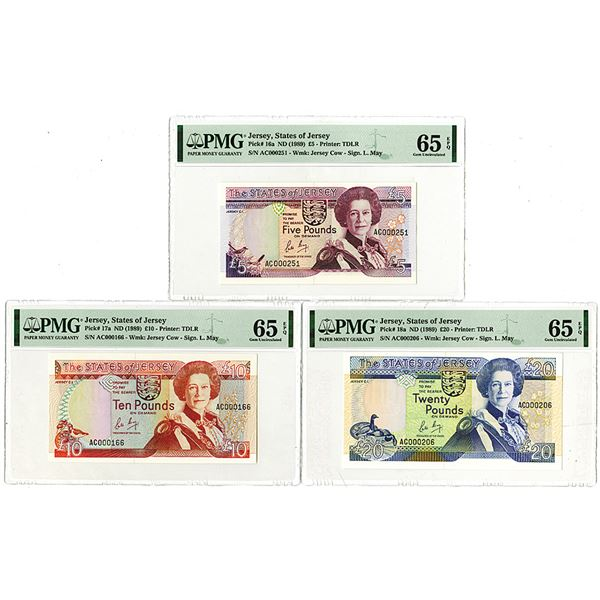 States of Jersey. ND (1989). Lot of 3 Issued Low Serial Number Notes.