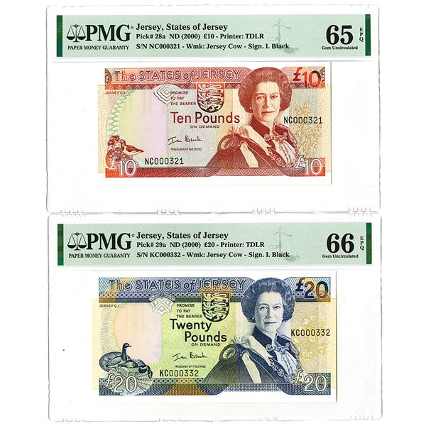 States of Jersey. ND (2000). Lot of 2 Low Serial Number Issued Notes.