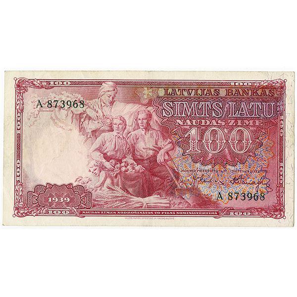 Latvijas Bankas. 1939 Issue Banknote.
