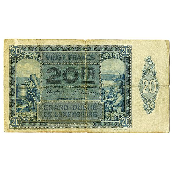 Grand-Duch_ de Luxembourg. 1929. Issued Note.