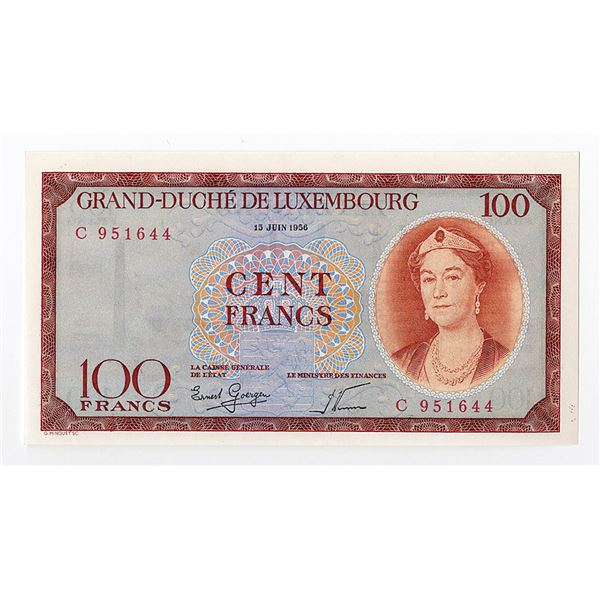 Grand-Douche De Luxembourg, 1956 Issue Banknote.