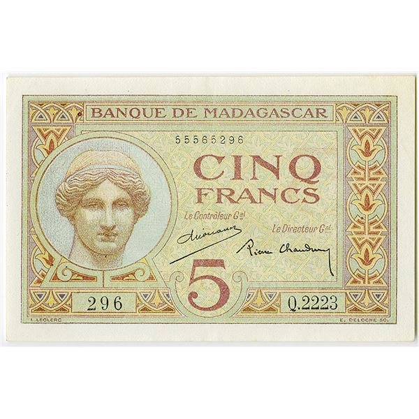 Banque de Madagascar. ND (ca. 1937) Issue Banknote.